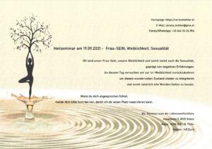 Seminar: Frau sein- Weiblichkeit, Sexualität @ Lebenswerkstätten Stainz, Seminarraum, 1.Stock